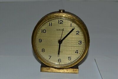 Vintage Europa  Brass Gilt Wind Up Alarm  Clock Made In Germany 1950S