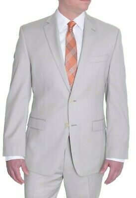 Mens Calvin Klein Taupe Solid Slim Fit Two Button 100% Wool Sportcoat Blazer 42L