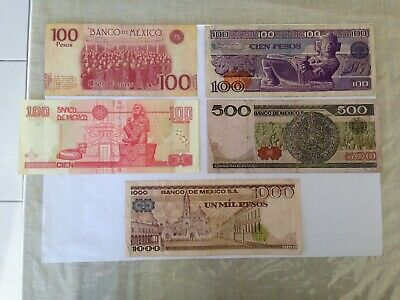 Various Denominations Circulated Mexican Bank Notes. Ideal For Collection.