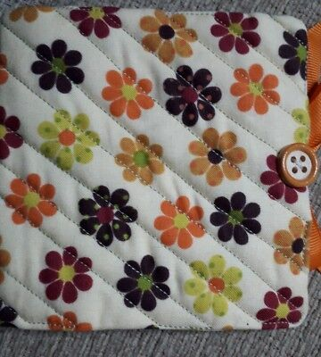 Quilted Handmade Needle Book yellow retro flower 1970s fabric wooden button