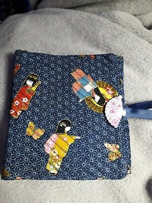 Quilted Handmade Needle Book Japanese Geisha navy Fabric wooden fan button