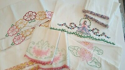 Vintage Handmade Embroidered and Crocheted Pillowcase Collection
