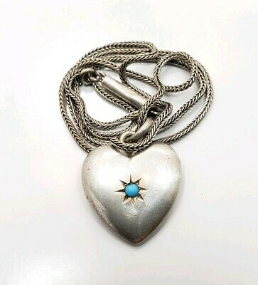 Vintage Art Deco Victorian Sterling Silver 925 Puffy Heart Turquoises Necklace