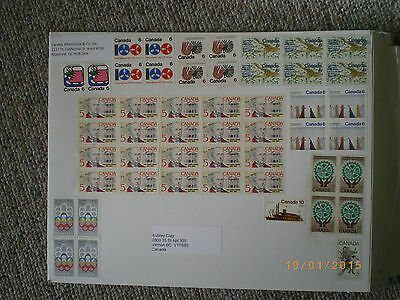 vintage canada stamps 70,80,s uncancelled Mounted On Original Mail