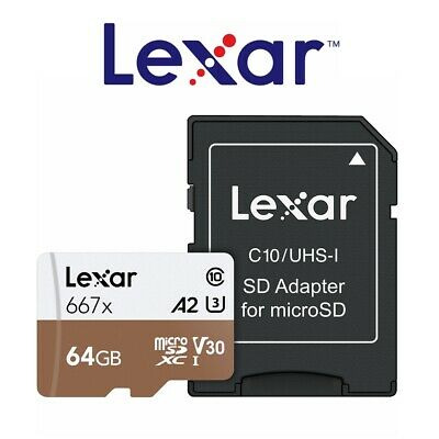 Lexar Micro SD Card 64GB Professional 667x Class10 Phone Tablet Memory 100Mb/s