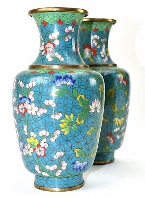Antique Pair Chinese Cloisonné Oriental Turquoise Multi Flower Decorated Vases