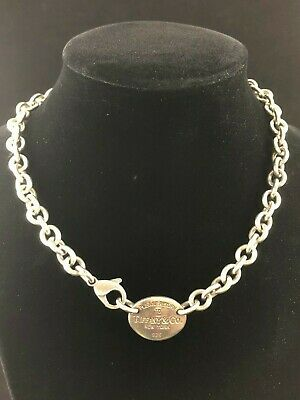 Please Return To Tiffany & Co. Sterling Silver 925 Oval Tag Chain Link Necklace