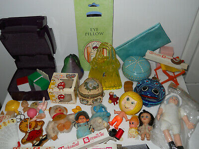 Junk Drawer Girl Lot Small Dolls Toys Jewelry Boxes Candle Makeup Case VTG Fans