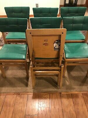 7 Vintage Solid Wooden Louis Rastetter & Sons Solid Kumfort Folding Chairs 492