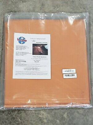 ~NEW, FAST SHIP!~ HI TEMP Welding Curtain,6 ft. W,6 ft.,Orange, O51-6X6-20-B
