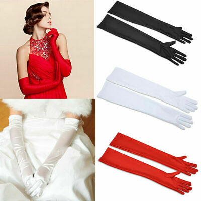 Stretch Satin Extra Long Gloves Wrist Opera Evening Party Prom Fancy Costume