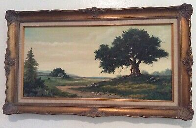 "Beautiful Vintage Signed Nature Oil Painting on Canvas Framed 28"" x 16"""