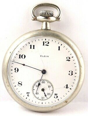 Antique 1916 ELGIN 7 Jewel Manual Wind Pocket Watch 293 runs 16s Silverode case