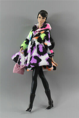 4in1 Fashion colorized Winter fur Coats Outfit+boot+bag+legging For 11.5in.Doll