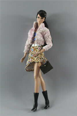 5in1 Set Fashion Outfit Coat+vest+skirt+bag+boots for 11.5 in. Doll d08