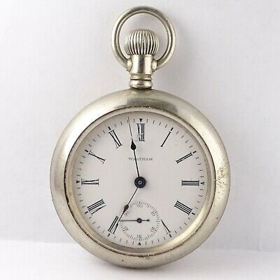 Antique WALTHAM 17 Jewel Wind Pocket Watch 825 runs Locomotive back SERVICED 18s