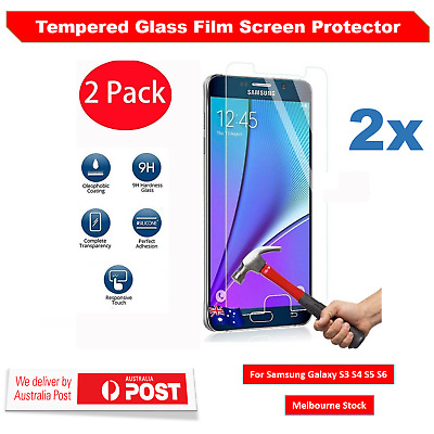 2X Tempered Glass Film Screen Protector for Samsung Galaxy S3 S4 S5 S6