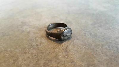 Ancient Roman Bronze RING (#10) Crisscrossed Lines Pattern, 16 mm Diameter