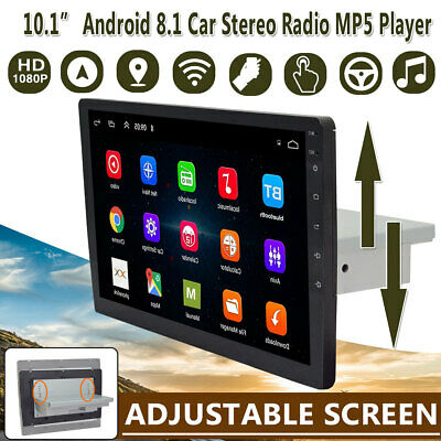 """10.1"""" Adjustable 1Din Android 8.1 Quad-Core WIFI Car Stereo Video Radio GPS MP5"""