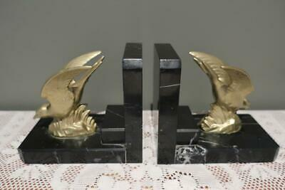 Vintage Art Deco Spelter & Black Marble Bookends Book Ends - Swallows - Rc