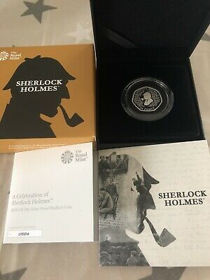 Sherlock Holmes 2019 50p Royal Mint Silver Proof Piedfort Coin No. 584 Of 2500