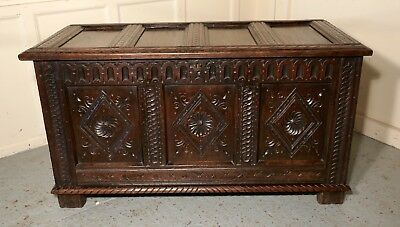 A Large 17th Century  Carved Oak Coffer