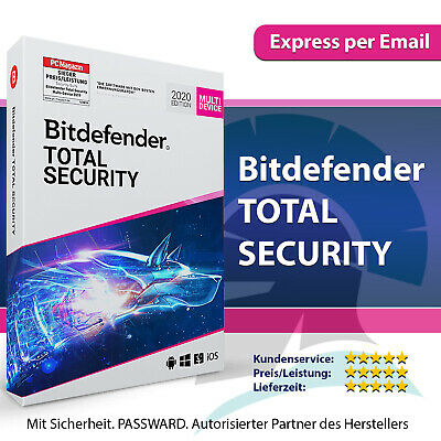 Bitdefender Total Security 2020 - 1, 3, 5, 10 PC, 1, 2, 3 Jahre, Code per E-Mail