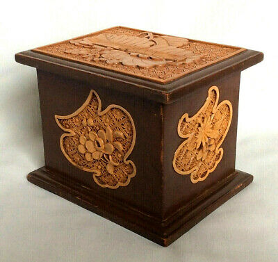 Chinese carved wooden box cigarette dispenser Calligraphy on base