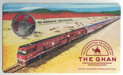 AUSTRALIA 2019 50c 90th Anniversary of the Ghan UNC Coloured Coin