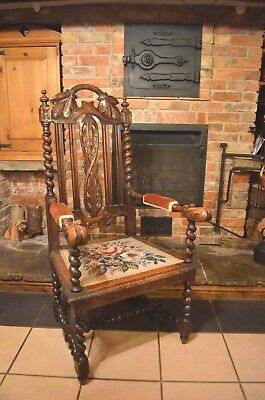 Vintage Sturdy Tapestry Large Oak Gothic  Carved Barley Twist Hall Throne Chair