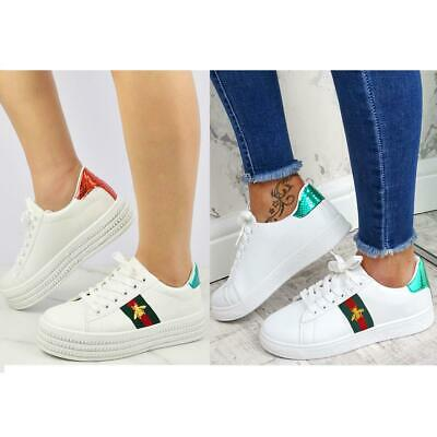 Womens Ladies White Flat Stripe Sneakers Trainers Designer Casual Gym Shoes Size