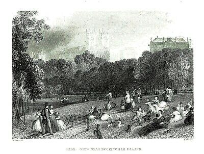 A View Near Buckingham Palace, London - Engraving after William Harvey - 1850