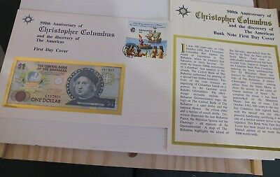 1992 Bahamas Bank Note  First Day Cover Columbus One Dollar Mint