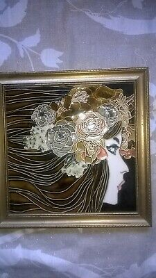 Decorative Art Nouveau Style Majolica Tile by Maw and Co
