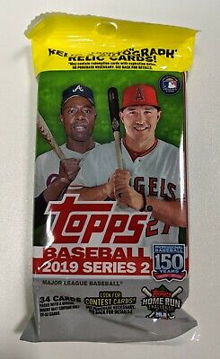 2019 TOPPS Series 2 BASEBALL MLB Retail FAT PACK - 34 Cards!!! New and Sealed