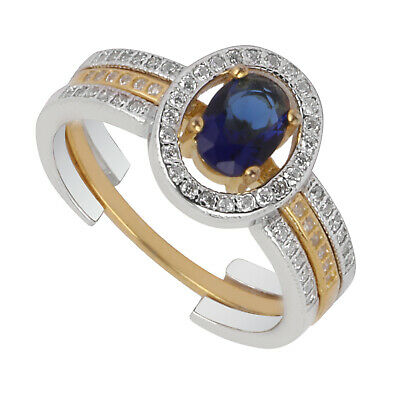 Two Tone Gold Silver Plated 925 Sterling Silver Ring Blue Oval CZ Gift Woman