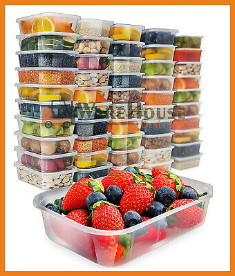 Takeaway Food Containers Plastic Microwave Freezer Safe Storage Boxes + LIDS UK