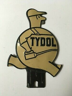 Tydol License Plate Topper WHITE NOT YELLOW Gas Oil Garage Advertising Sign RARE
