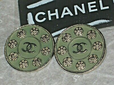 Chanel 2 Metal Cc Logo Front Camellia Flower Green Buttons 22 Mm / Around 1''