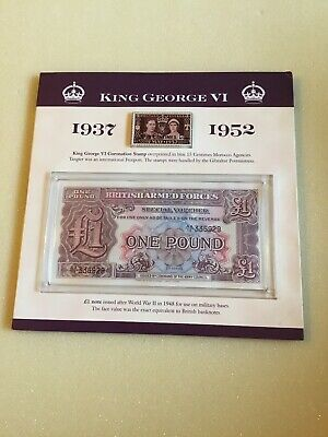 KING GEORGE VI 1937 To 1952 BRITISH ARMED FORCES £1 Note and Coin Set