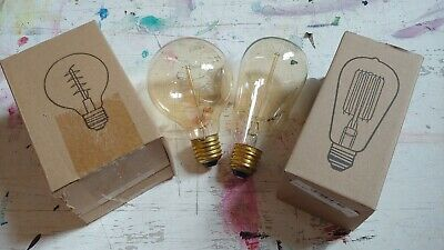 Pair of Vintage style filament light bulbs e27 screw fitting