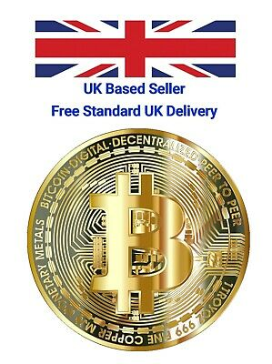 New Bitcoin Physical Collectible Gold Plated Coin BTC 1 Ounce 40mm - UK STOCK