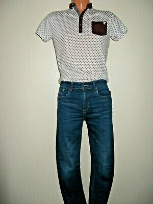 Worn Once Boys Next Pattern Polo T-Shirt & Tapered Slim Blue Jeans Bundle Age 13