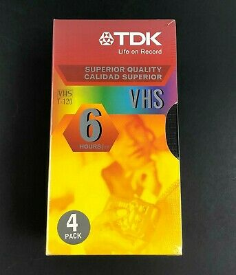 TDK T-120 4 Pack Of Superior Quality Blank VHS Video Tapes 6-Hour Capacity New