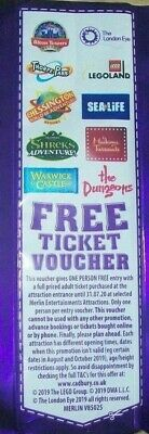 2x2-for-1 voucher includes Alton Towers, Madame Tussauds, Sea Life &The Dungeons