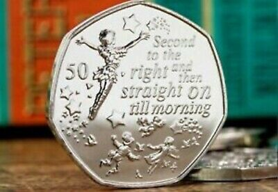 New Peter Pan 50p Isle of Man Fifty Pence Brilliant Uncirculated Coin!