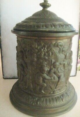 Antique Brass Repousse Tobacco Jar Humidor 19th - Early 20th Century