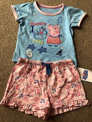 M&S Kids Marks And Spencers Peppa Pig Shortie Pyjamas 12-18 Months Nautical