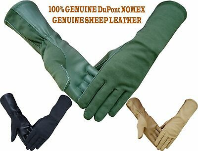 NOMEX DuPont LEATHER TACTICAL PILOT FLIGHT FLYERS FIRE HEAT RESISTANCE GLOVES
