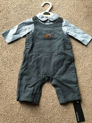 M&S Marks And Spencer Kids Autograph Baby Boys Dungarees Fox Outfit Smart 0-1 M